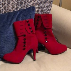 Like New Red ankle Booties